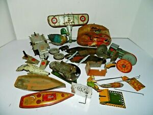 Tin Toy LOT for Parts or Repair Only Duck, Tank, Plane, Marx, Strauss Airplane