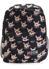 "New Ed Heck Rock Hands Black Backpack Laptop School Bag 19 """