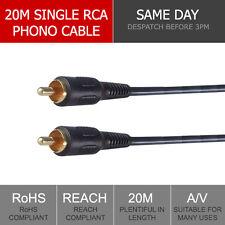 20m Composite Cable Male M/M Phono RCA Video Lead AV Digital CCTV Mic Audio Plug