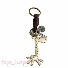 Vintage Cute Giraffe Animal Bronze Plated Faux Leather Key Chains Key Ring Gift