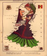 Caricature Map of Holland & Belgium 1860 by Hodder & Stoughton 6x5 Inch Reprint