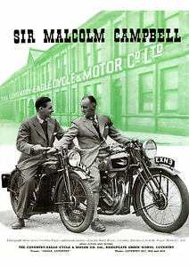 1939 Coventry Eagle motorcycles with Malcolm & Donald Campbell poster