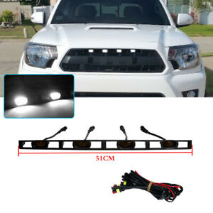 Smoke Lens Front Bumper Grille LED Light W/Wire Harness For Tacoma 2012-15,White