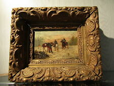 old oil painting 1850 panel cavalerie french flemisch soldiers napoleon troops