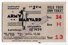 1939 ARMY Harvard University NCAA College Football Ticket Stub WEST POINT Boston
