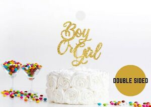 Boy or Girl Cake Topper Baby Shower Party Gender Reveal Cake Decoration