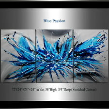 Large Original Painting White Blue Wrapped Canvas Wall Art Modern Abstract 72x36