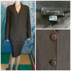 ST. JOHN Knits Brown Jacket XL 16 18 Suit Blazer Buttons Pockets V Neckline