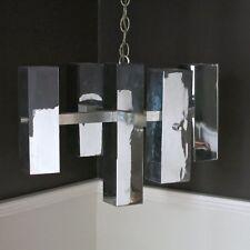 Lightolier Cube Chandelier, Mid Century Modern, Brutalist Pendant Sciolari