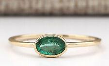 0.50 Carat Natural Emerald 14K Yellow Gold Promise Ring