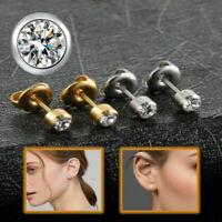 Elegant Comfy Girls Cartilage  Ear Piercing Round CZ Crystal Bezel Stud Earrings