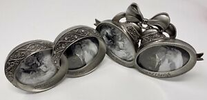 Pair Fetco Picture Frames Pewter With Bling Wedding Double Rings Bells Set