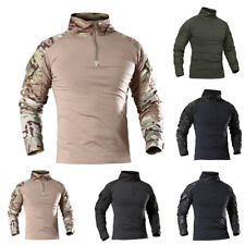 KQ_ Men's Sports Camo T-shirt Long Sleeve Army Combat Shirt Fitness Blouse Delux