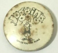 JOGGING GIVES YOU THE RUNS - Old OG Vtg 1970`s 25mm Badge Funny Joke Humourous