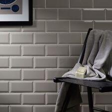 Sample of gloss light grey metro bevelled edge ceramic wall tiles 10 x 20cm