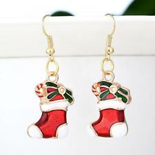 Stylish Christmas Jewelry Santa Claus DIY Earrings Socks Gold Plated Ear Drop