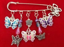 Unique Handmade BUTTERFLY Themed Large Multi Charm/Bead Kilt Pin Brooch Gift!