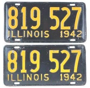 Illinois 1942 Pair Old License Plate Garage Car Tag Set Vintage Man Cave Wartime
