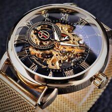 Men Skeleton Mechanical Wrist Watch Stainless Steel Luxury Steampunk Wristwatch