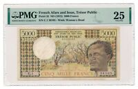 FRENCH AFARS AND ISSAS banknote 5000 Francs 1975 PMG VF 25 Very Fine