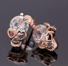 STUNNING Rose Gold Gothic Skull Earrings Heart Eyes Diamond Crystal Head Unisex