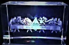 3D THE LAST SUPPER OF JESUS CRYSTAL W/ 12 APOSTLES Laser+4LED LIGHT NEW GIFT BOX