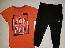 Nike Air Jordan Girls 2 PC Set Shirt Tee & Legging Capris Outfit Size Small