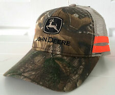 John Deere Realtree Hardwoods Camo & Beige Mesh Hat Cap w Orange Stripes