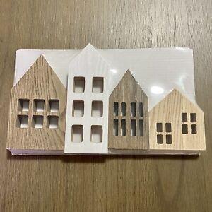 Target Wooden House Set Of 4 - Multicolor Grain - Christmas Shelf Mantel Decor