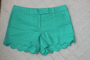 "J Crew Factory Shorts 4"" Linen Cotton Scalloped Hem Size 8 Kelly Green"