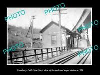 OLD LARGE HISTORIC PHOTO OF WOODBURY FALLS NEW YORK, THE RAILROAD DEPOT c1910