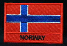 """NORWAY FLAG EMBLEM PATCH SEW ON EASY TO USE 2""""x3"""""""