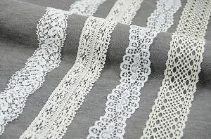 YARD Vintage Elasticated Stretch embroidered Lace Trim White Ivory Flourish