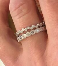 Bridal Band Bands 925 Silver S 6 2 Piece Ring Bezel Set Cz Stackable Eternity