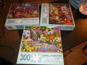 """Lot of 3 Bits & Pieces Jigsaw Puzzles 300 Large Pieces 18"""" x 24""""  Nature Holiday"""