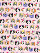 Cat Faces fabric, Fat 1/4s. 100% cotton. PRETTY Cats on Pink, c6171