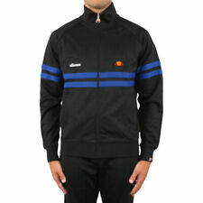 ELLESSE RIMINI SHC00892 Mens Track Top Sweatshirt Zipped Training Black Jumper