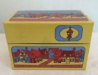 Vintage Syndicate MFG Co Recipe Box Tin Yellow Blue Red Village Scene Houses