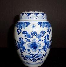 DELFT De Porceleyne Fles Tea Jar/Ginger Jar Blue and White Flowers  MINT Vintage