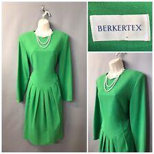 Berkertex Green Pleated Vintage Wool Dress UK 12 EUR 40