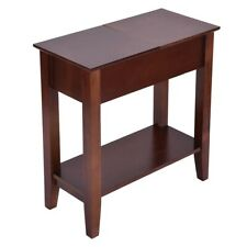 Small End Table Narrow Side Storage Wood Living Room Furniture Night Stand Brown