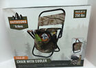 Totes FOLD-UP CHAIR WITH COOLER New Steel/Canvas - Holds 250lbs Insulated Cooler