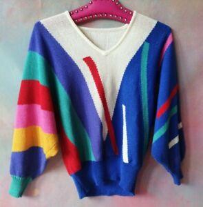 Vintage 80s Bright multicolour rainow knit sweater jumper 10 12