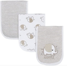 Gerber Baby Boy or Girl 3 Pack Burp Cloth Adorable Elephant Nip