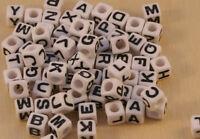 100pcs White/Black 6mm cube acrylic letter/alphabet beads