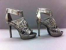 Pour La Victoire Women's Aurora Pewter Mirror High Heel Sandal, 7.5, NEW