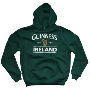 Mens Hoodie Guinness Pullover Forest Green cotton polyester Front Pouch Pocket