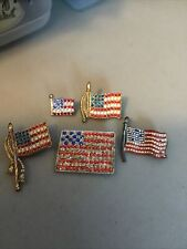 5 Pc Lot 4th Of July Wear Fix Parts Art Usa Flag Pins Red White Blue Rhinestones