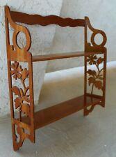 Vintage Fancy Floral Fretwork Two-Tier Wood Display Shelf Etagere