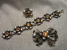 Hobe Sterling & Citrine Bowknot Brooch - Floral Link Bracelet & One Earring